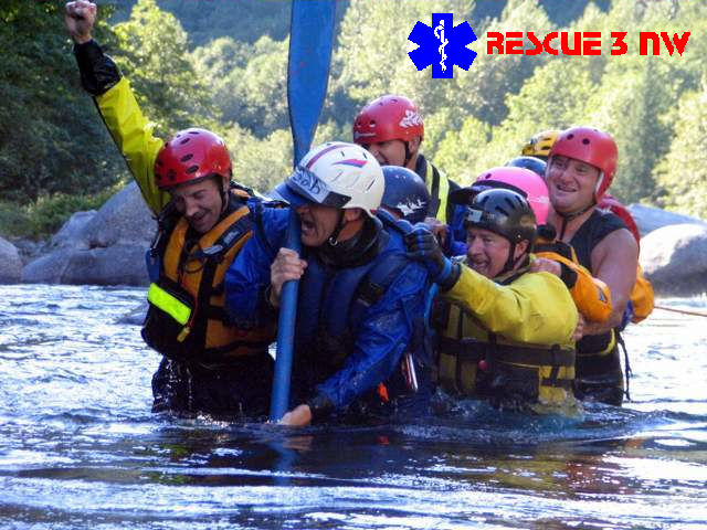Swiftwater Rescue Training with RESCUE 3 NW. An intensive four day, 30-hour rescue training class. One day of classroom instruction followed by three days developing and practicing skills in Washington rivers. Highly recommended for serious river rafting.